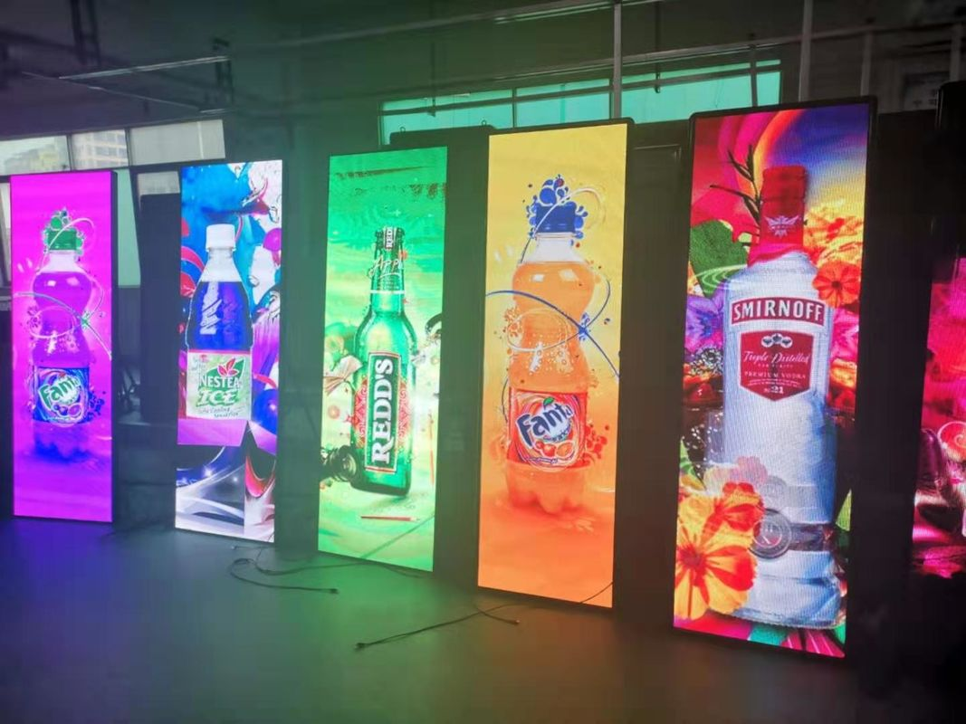 Ultra Thin Outdoor Full Color LED Display , Floor Standing Digital LED Poster Display